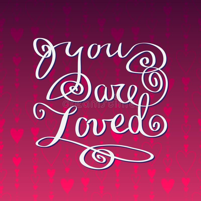 Cartão tirado mão da tipografia Cartão do amor do Valentim ilustração royalty free