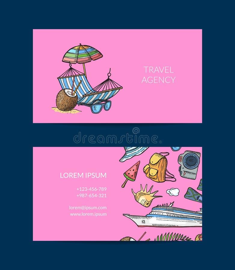 Cartão tirado mão do curso do verão do vetor para a ilustração da agência de viagem ilustração do vetor