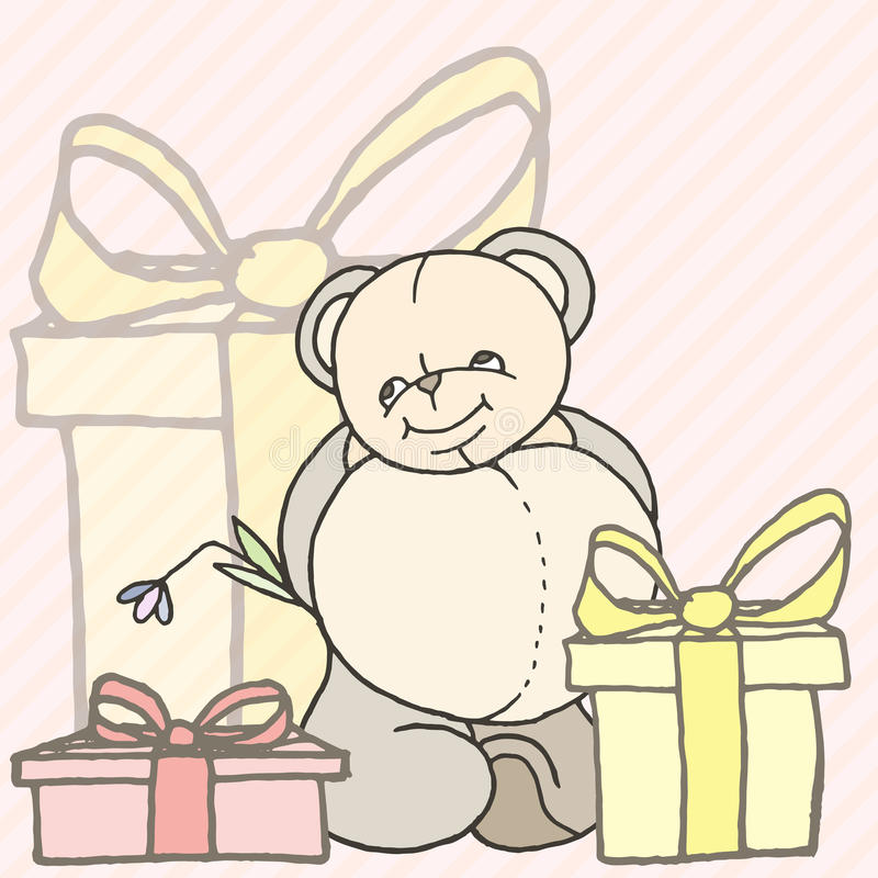 Cartão tirado mão do projeto do urso de peluche ilustração stock