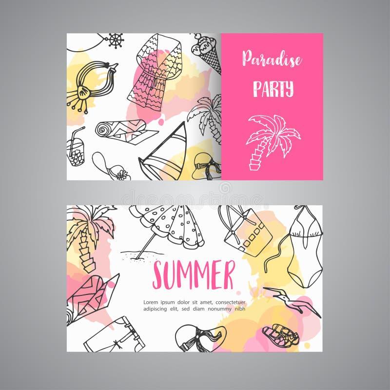 Cartão tirado mão do verão Elementos da garatuja da praia As férias e o trevel ao mar esboçam o vetor ilustração stock