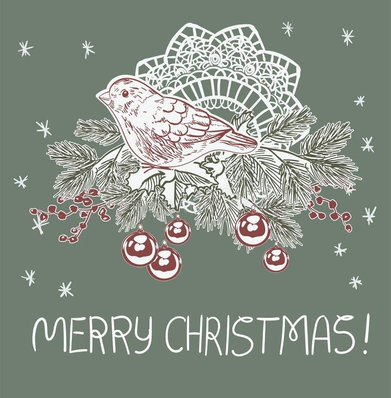 Cartão tradicional cor-de-rosa azul do vetor do Natal da árvore da bola da decoração do pássaro ilustração do vetor