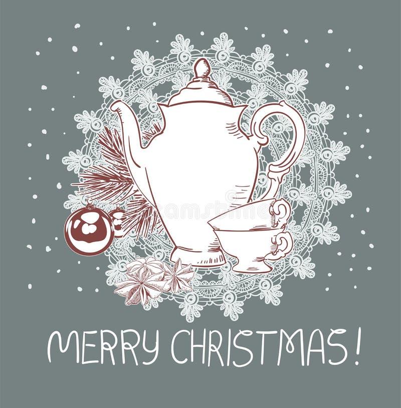 Cartão tradicional cor-de-rosa azul do vetor do Natal dos copos do bule ilustração do vetor