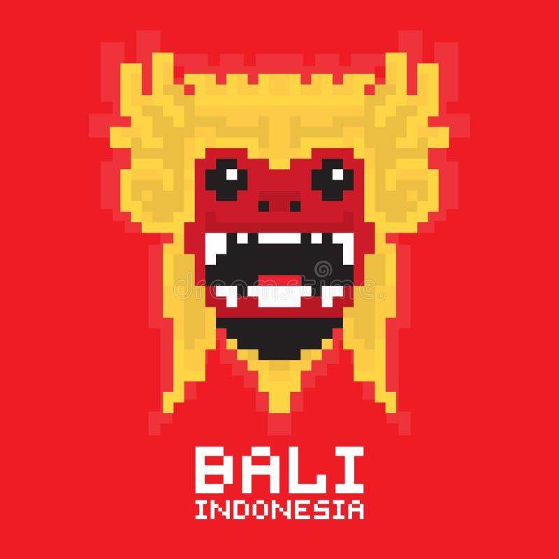 Cartão tradicional do vetor da arte do pixel da máscara de Bali ilustração do vetor