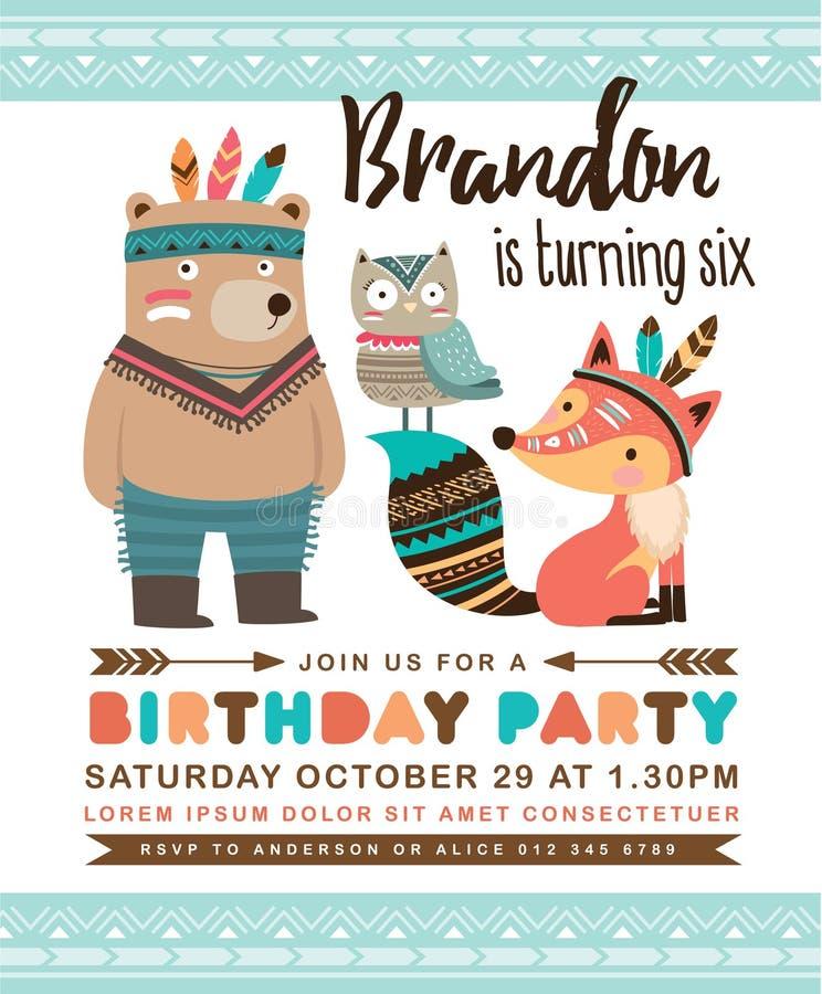 Cartão tribal do convite do aniversário ilustração do vetor