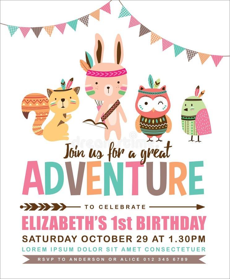Cartão tribal do convite do aniversário ilustração royalty free