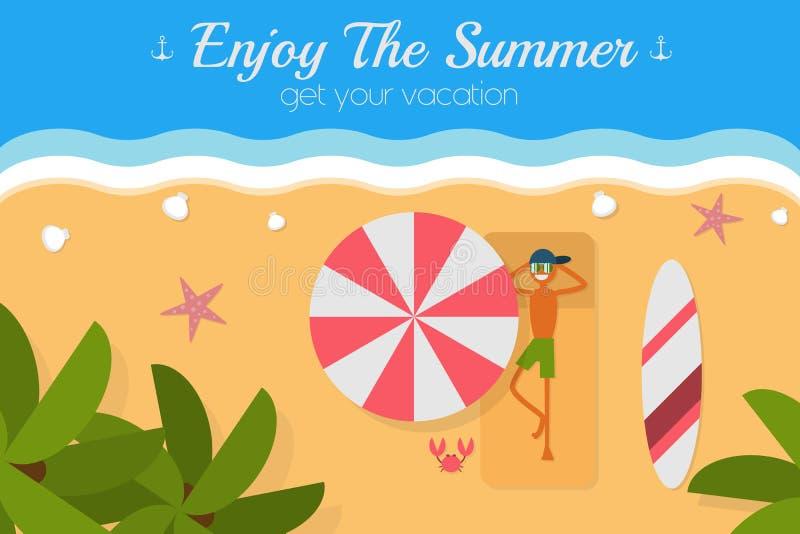 Cartão tropical da opinião aérea da ilha do paraíso ilustração royalty free