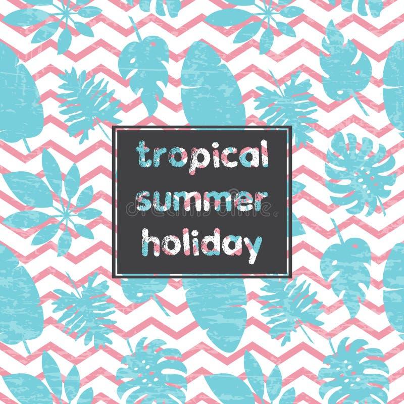 Cartão tropical 1 das folhas ilustração stock