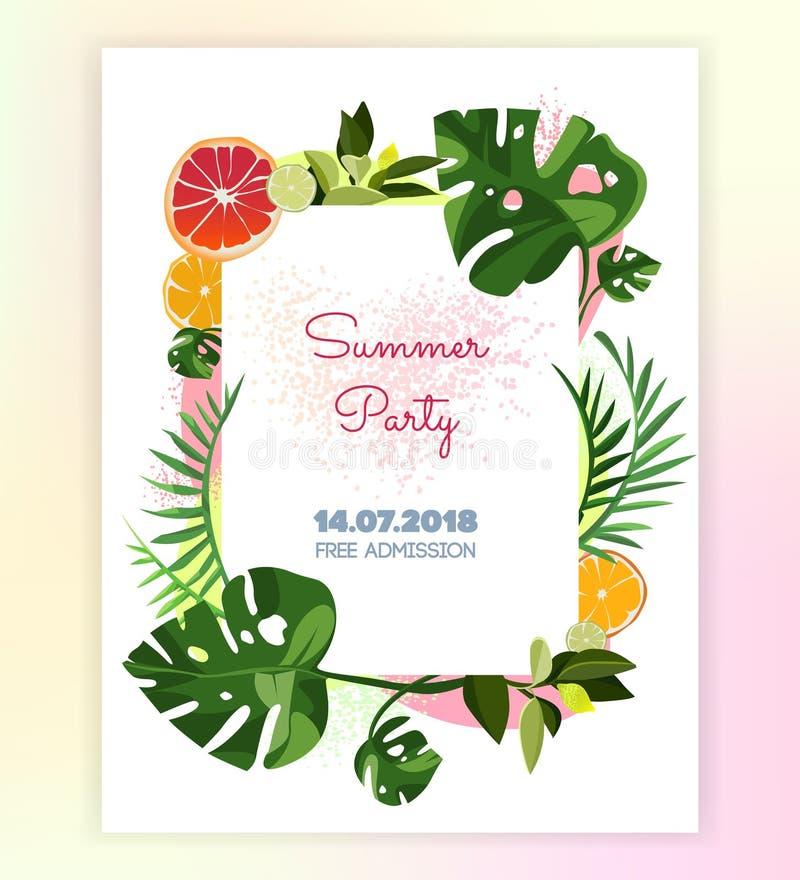 Cartão tropical do convite do molde do vetor fotografia de stock