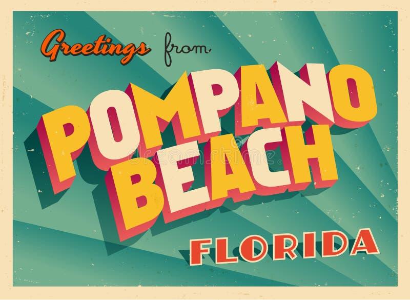 Cartão turístico do vintage da praia da palombeta, Florida ilustração royalty free
