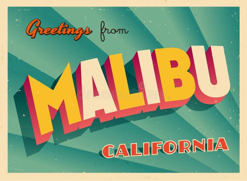Cartão turístico do vintage de Malibu, Califórnia ilustração do vetor