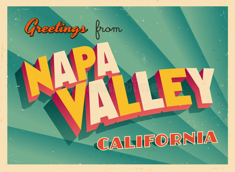 Cartão turístico do vintage de Napa Valley, Califórnia ilustração do vetor