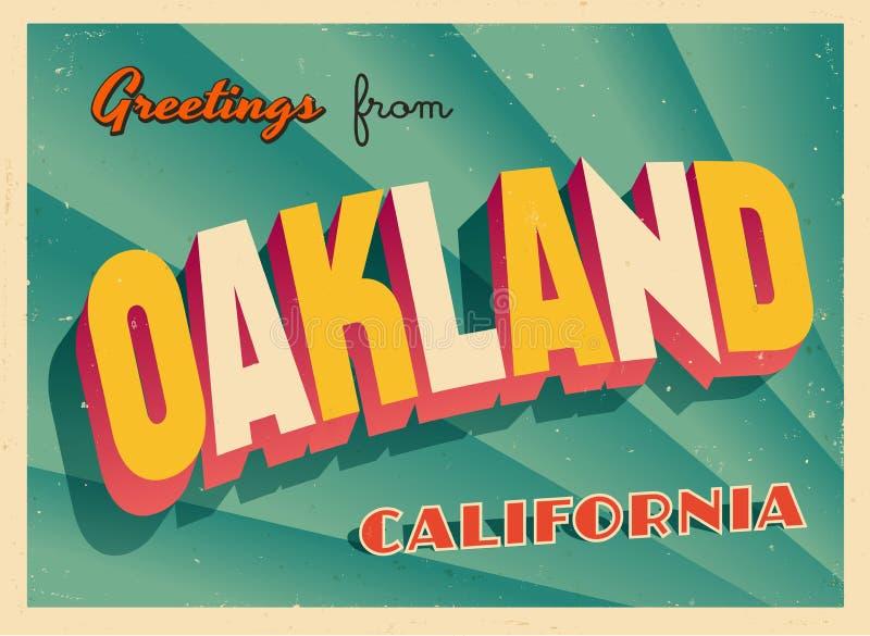 Cartão turístico do vintage de Oakland, Califórnia ilustração stock