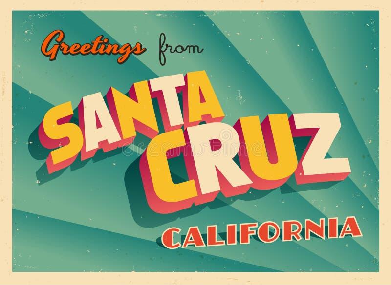 Cartão turístico do vintage de Santa Cruz, Califórnia ilustração stock