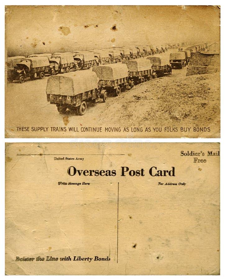 Cartão ultramarino do exército com combóio de caminhão fotografia de stock royalty free