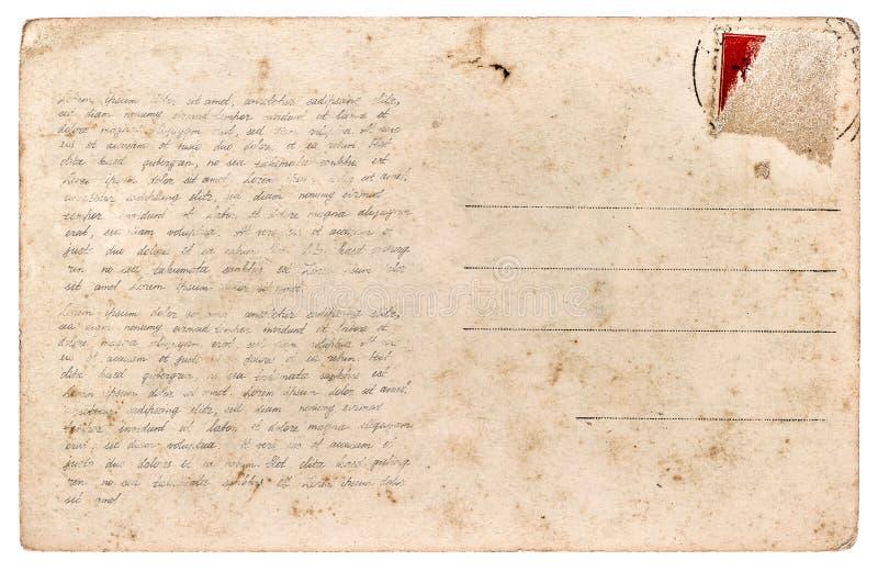 Cartão usado Texto escrito à mão da folha de papel do vintage foto de stock royalty free