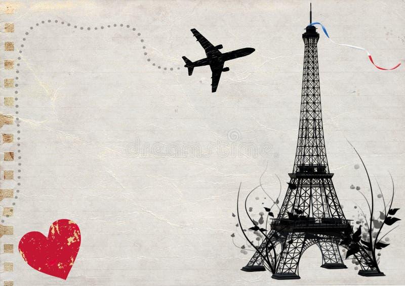 Cartão vazio da torre Eiffel de Paris ilustração royalty free