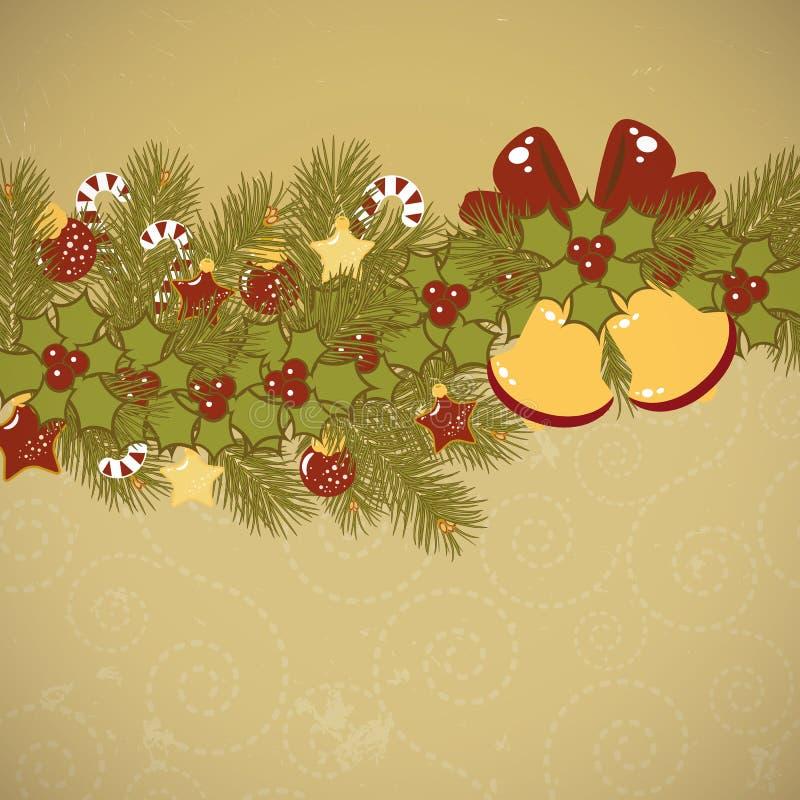 Cartão velho do fundo do Natal ilustração do vetor
