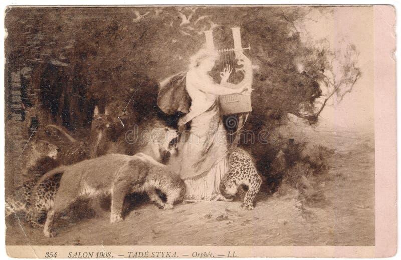 Cartão velho entre 1908 france salon fotografia de stock royalty free