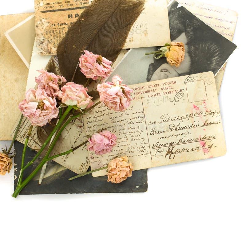 Cartão velhos, foto, flores imagem de stock royalty free