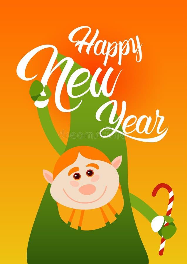 Download Cartão Verde Da Celebração Do Ano Novo Feliz Do Feriado Do Duende Do Natal Ilustração do Vetor - Ilustração de congratulation, feriado: 80101308