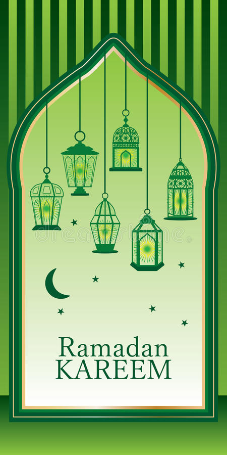 Cartão verde da lanterna da ramadã ilustração royalty free