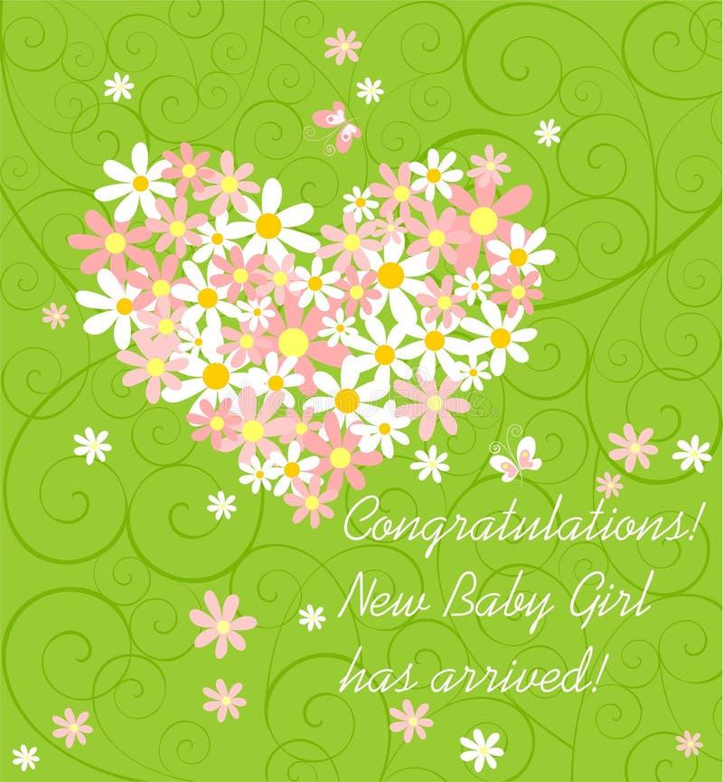 Cartão verde de cumprimento da chegada do bebê com o ramalhete da margarida cor-de-rosa e branca com forma do coração ilustração stock