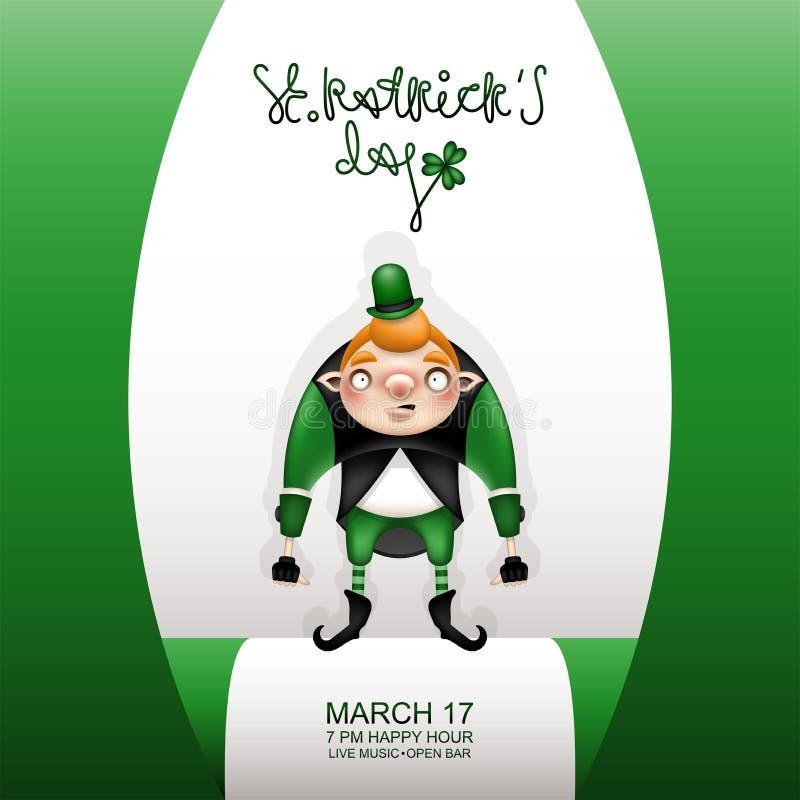 Cartão verde de Gretting e gnomo novo ilustração royalty free