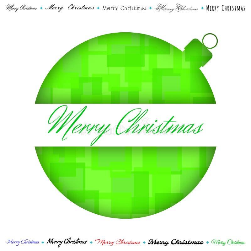 Cartão verde de papel do Feliz Natal, formulário cortado da bola Vetor ilustração royalty free