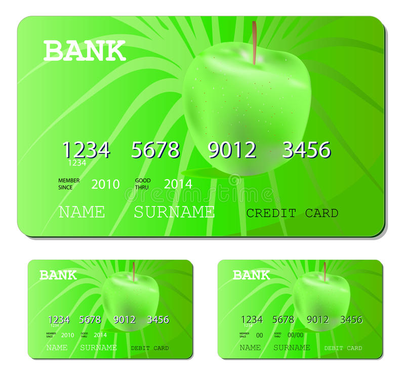 Cartão verde do crédito ou do débito ilustração royalty free