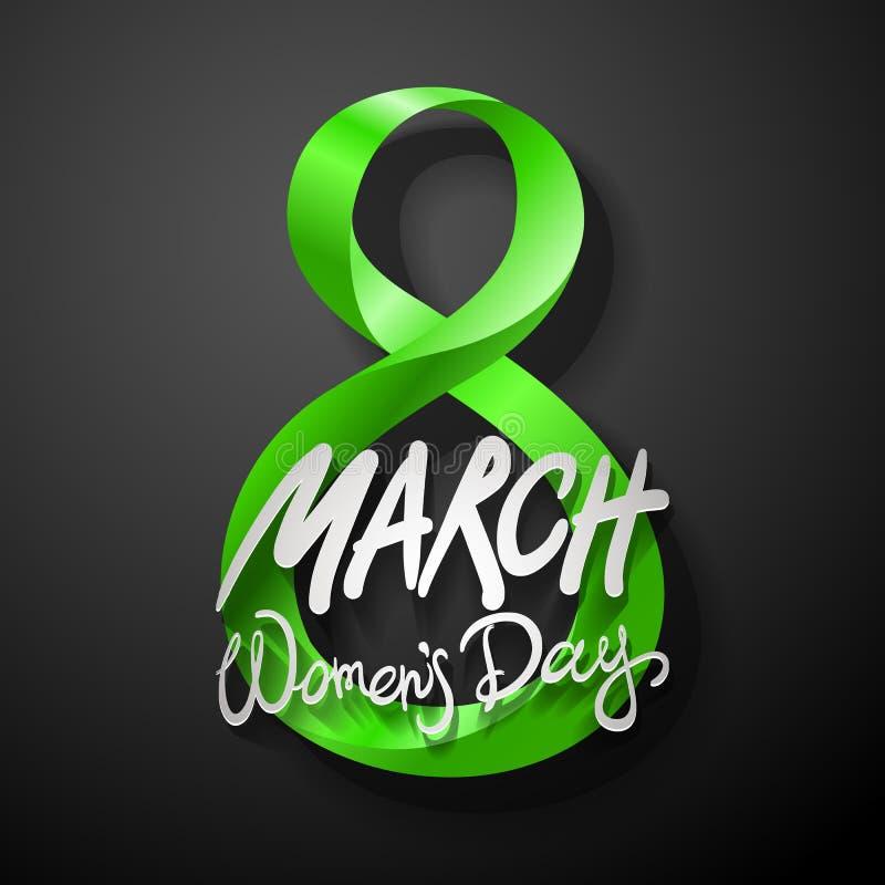 Cartão verde do 8 de março O dia da mulher internacional Vetor Fundo preto ilustração stock