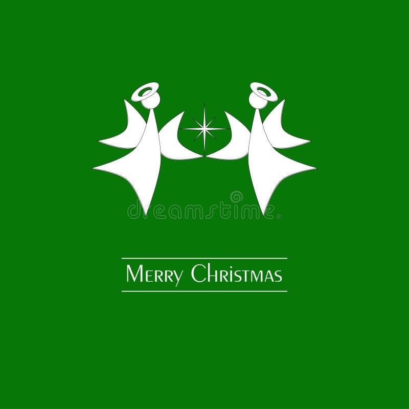 Cartão verde do Feliz Natal com anjos do Natal ilustração do vetor