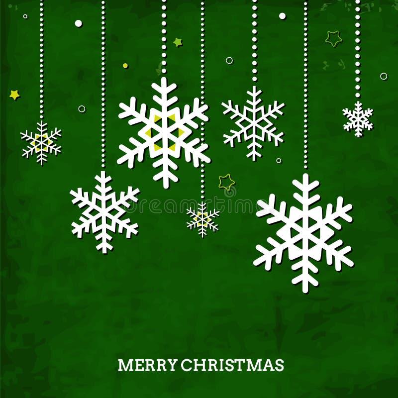 Cartão verde do vintage com flocos de neve do Natal e o ilustração stock