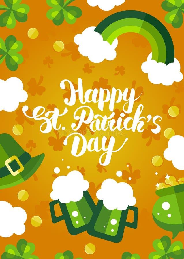 Cartão verde e amarelo do dia de St Patrick feliz foto de stock royalty free