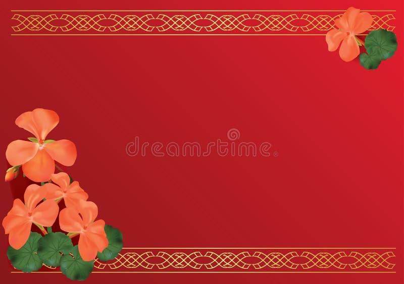 Cartão vermelho com flores cor-de-rosa ilustração royalty free