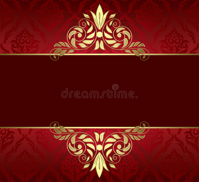 Cartão vermelho com tracery e teste padrão do ouro ilustração stock