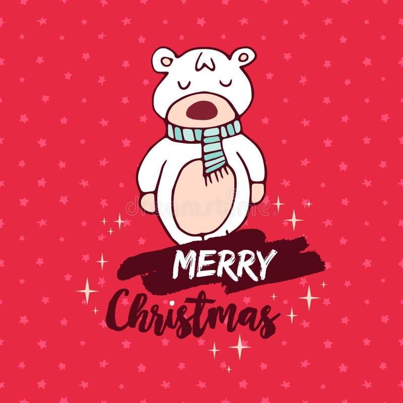 Cartão vermelho da garatuja do urso do bebê do Natal ilustração stock