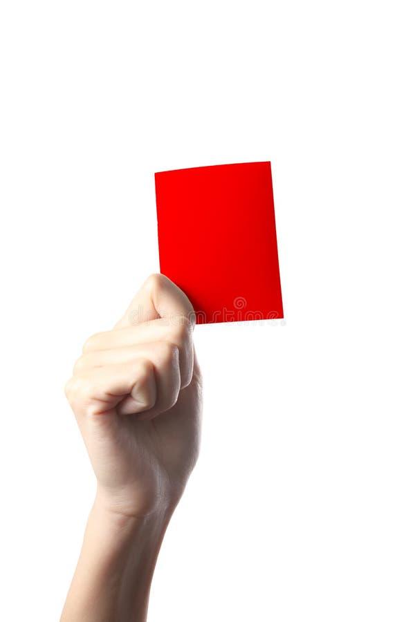 Cartão vermelho da mão fotografia de stock royalty free