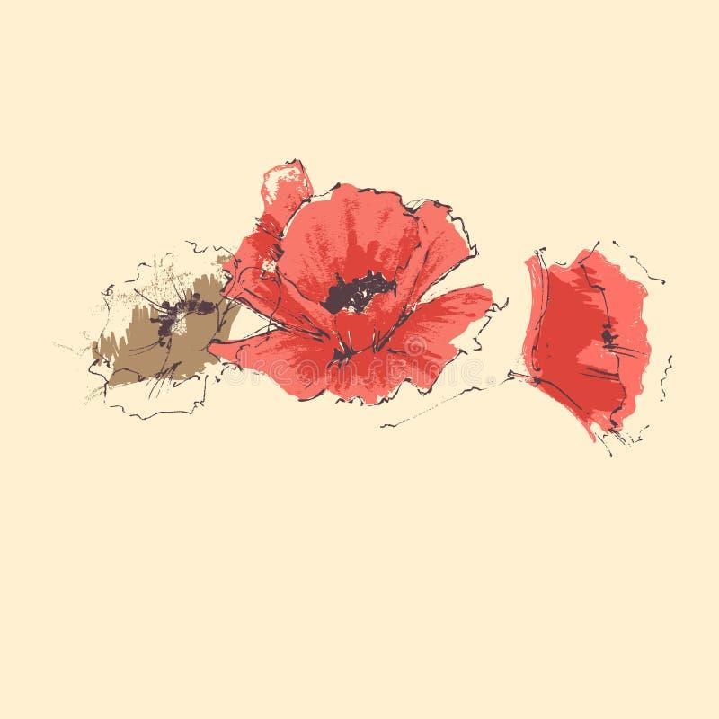 Cartão vermelho do aniversário da papoila ilustração stock
