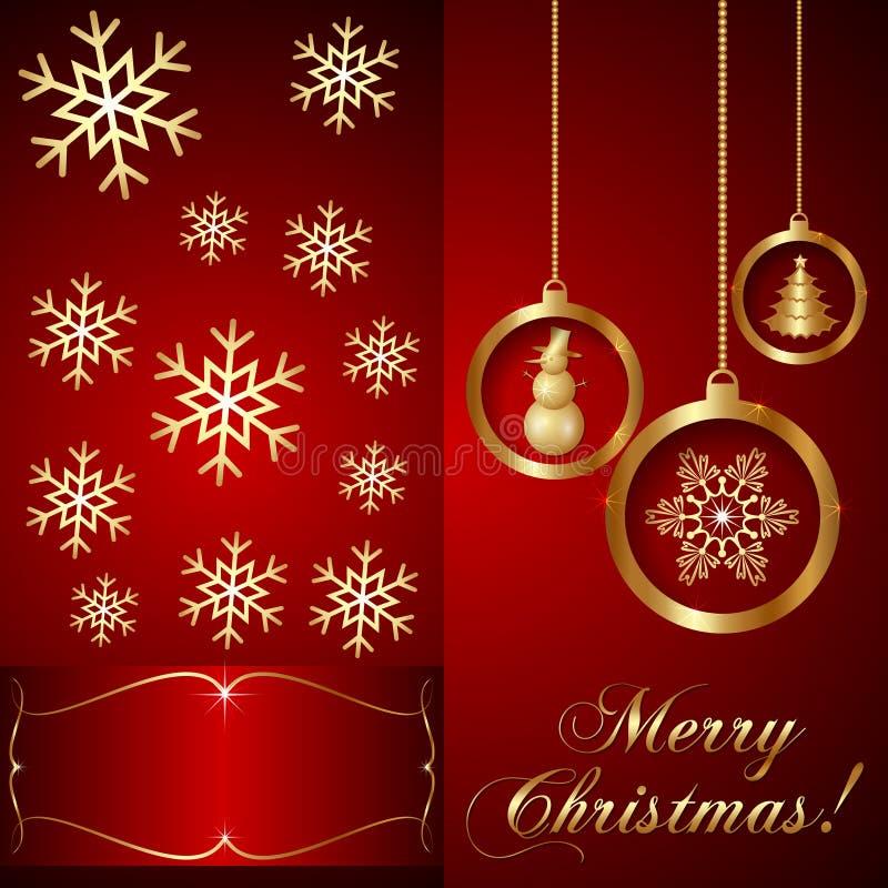 Cartão vermelho do convite do Natal do vetor ilustração do vetor