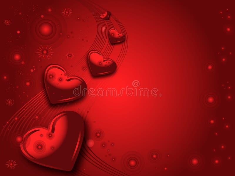 Cartão vermelho dos Valentim ilustração royalty free