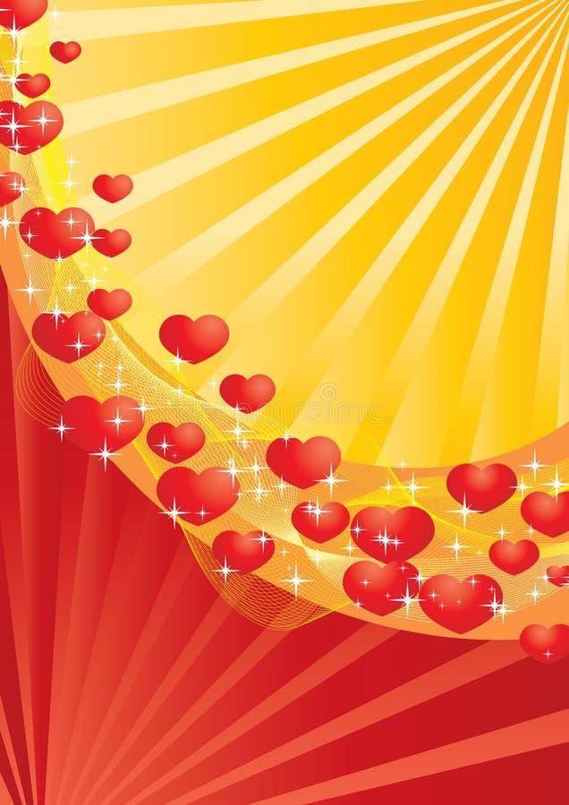 Download Cartão Vermelho E Amarelo Do Valentim Ilustração do Vetor - Ilustração de encantador, fundo: 12803369