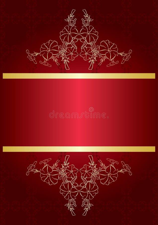 Cartão vermelho elegante com decoração dourada ilustração stock
