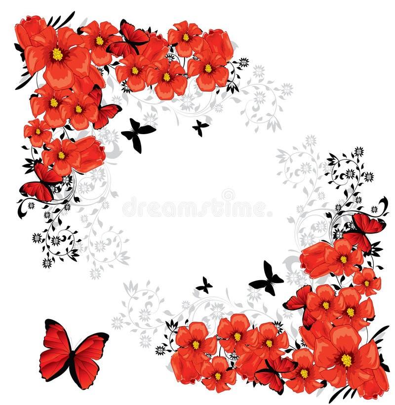 Cartão vermelho floral do Valentim ilustração do vetor