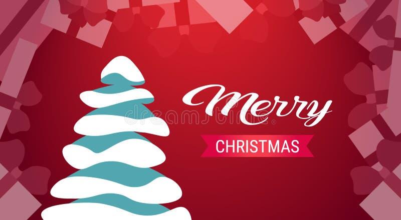 Cartão vermelho nevado do fundo da árvore de abeto do cartão do conceito dos feriados do ano novo feliz do Feliz Natal horizontal ilustração royalty free