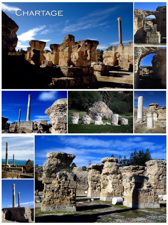 Cartão vertical da colagem de Carthage em Tunísia fotografia de stock