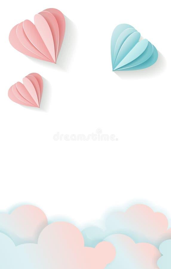 Cart?o vertical do amor para o dia de Valentim com espa?o livre para seu texto rosa do voo 3D e cora??o de papel azul e nuvens ro ilustração royalty free