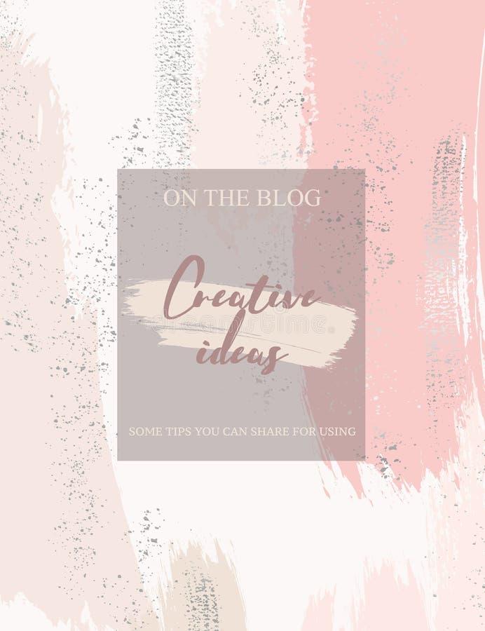Cartão vertical do convite do casamento do vetor com elementos e brilhos dourados do foli no rosa coram as cores pastel Aquarela  ilustração stock