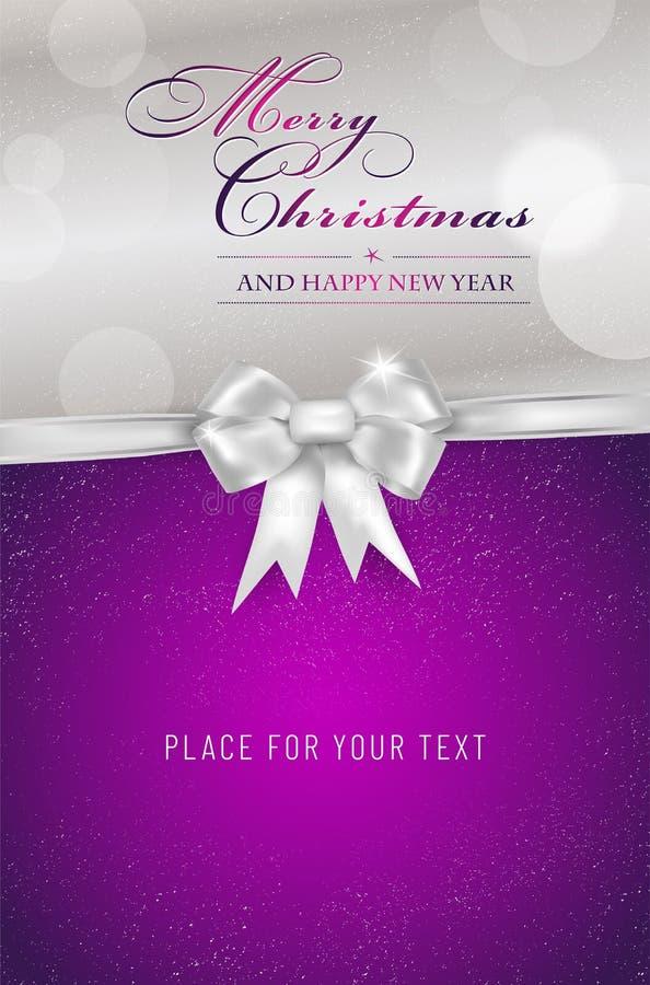 Cartão violeta do Feliz Natal e do ano novo feliz com curva ilustração stock