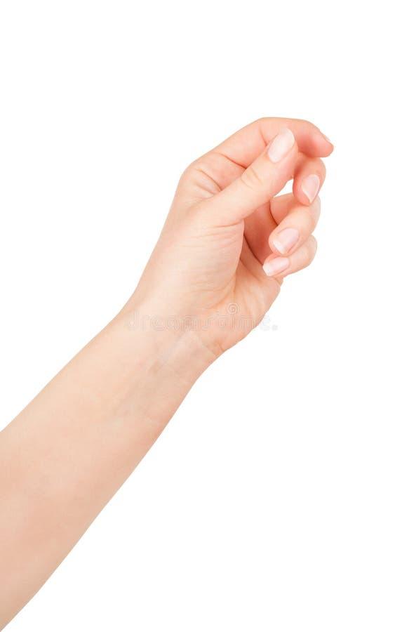 Cartão virtual da posse da mão da mulher, cartão de crédito ou pape vazio fotografia de stock