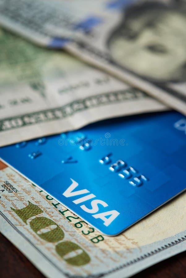Cartão visa azul do crédito imagens de stock